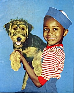 1950s Calendar print African American child w/ dog (Image1)