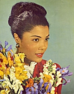 1950s calendar print woman with flowers (Image1)