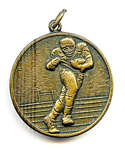 Football player vintage bronze pendant medallion (Image1)