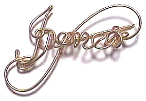 Irene Name Gold Wire Brooch Pendant (Image1)