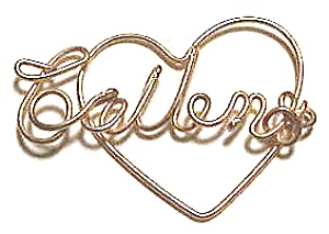 Collen Name Gold Wire Heart Pendant (Image1)