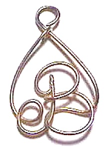 Letter 'b' In Tear Drop Design Pendant