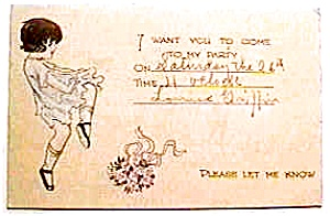 Vintage card party invitation early 1900's (Image1)