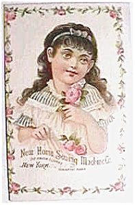 Vintage ad sewing machine girl with pink rose (Image1)