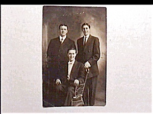 Vintage real photo  postcard - Three Men (Image1)