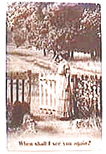 Vintage Postcard - Woman at the Gate (Image1)