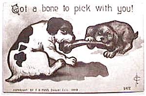 Vintage Dogs and  Bone humorous postcard (Image1)