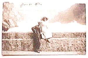 Vintage real photo postcard  Couple on Bridge 1912 (Image1)