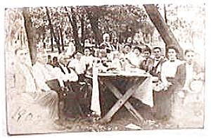 Vintage real photo postcard - 1908 Picnic (Image1)