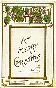 Vintage Antique Christmas Post Card 1908 (Image1)