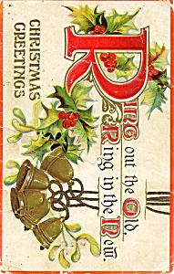 Vintage Christmas 1900s holly bells postcard (Image1)