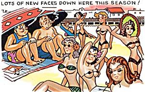 Postcard Humor Beach Bikinis #182 (Image1)