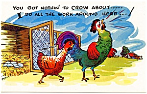 Postcard Humor Rooster Chicken #186 (Image1)