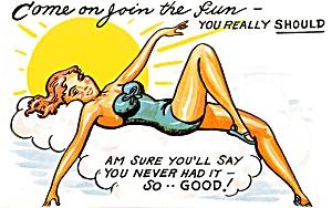 Postcard Humorous Bathing Beauty #184 (Image1)