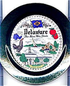 Delaware Blue Hen State Plate Mid Century (Image1)
