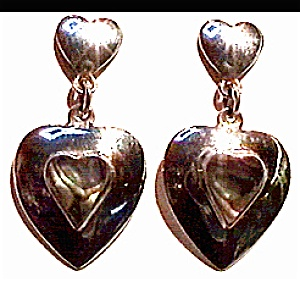 Abalone hearts sterling silver earrings (Image1)