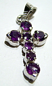Sterling silver amethyst cross pendant (Image1)