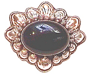 Black Onyx Sterling Silver And 14k Gold Brooch Or Pin