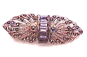 Sterling Silver Marcasite Amethyst Pin Brooch (Image1)