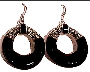 Onyx Marcasite vintage sterling silver earrings (Image1)