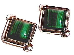 Malachite Square Design Sterling Silver Post Earrings