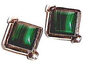 Malachite square design sterling silver post earrings (Image1)