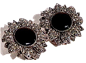 Onyx Marcasite sterling silver clip earrings (Image1)