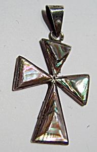 Abalone silver cross pendant (Image1)