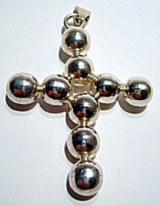 Beaded design sterling silver large cross pendant (Image1)