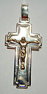 Sterling Silver Cross Crucifix With Gold Jesus