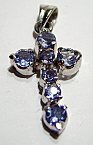 Iolite sterling silver cross pendant (Image1)