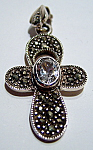 Marcasite cubic zirconia sterling silver cross pendant (Image1)