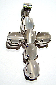 Moonstone sterling silver cross pendant (Image1)