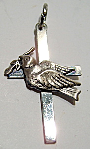 Peace dove sterling silver cross pendant (Image1)