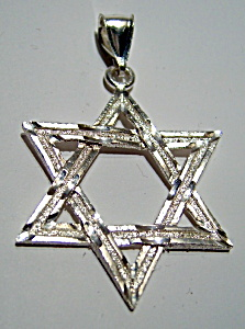 Star Of David Large Sterling Silver Pendant