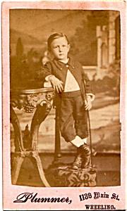 Young Boy Standing vintage Carte de Visite photo (Image1)