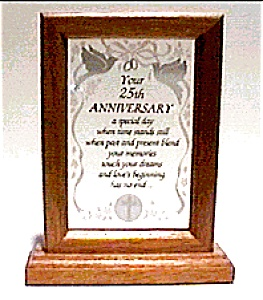 25th Anniversary Glass Wood Plaque (Image1)