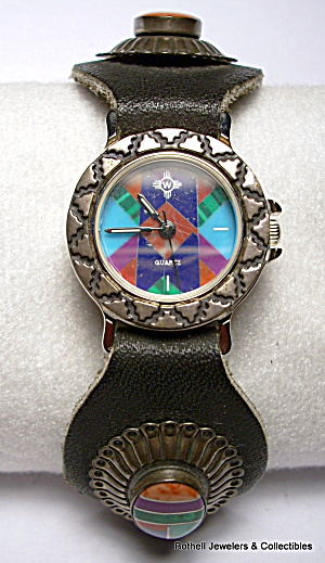 Native American design sterling silver handmade watch (Image1)