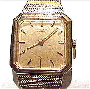 Vintage Seiko brushed gold lady's quartz wrist watch (Image1)