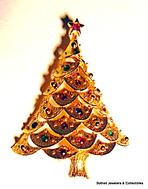 Christmas Tree Gold Tone Vintage Brooch Pin