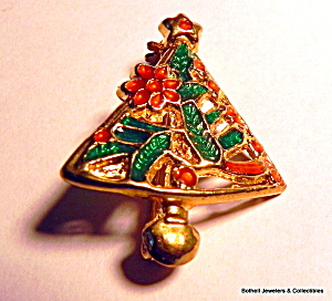 Christmas Tree Vintage Enameled Brooch Pin