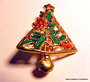 Christmas tree vintage enameled brooch pin (Image1)