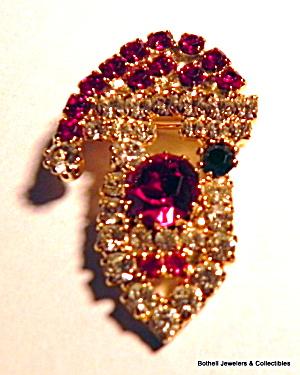 Santa Claus vintage rhinestone brooch pin (Image1)