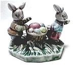 Click to view larger image of Easter Bunny rabbits figurine (Image1)