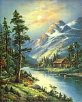 Click here to enlarge image and see more about item apcpmtsc1: 1950s calendar picture mountain scene