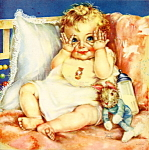 Click here to enlarge image and see more about item apcpmtsc3: Peek-a-boo baby 1950s calendar picture