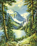 Click here to enlarge image and see more about item apcpmtsc4: 1950s calendar picture mountain scene