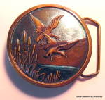 Click here to enlarge image and see more about item bklbrdsenl3-1342829366: Belt Buckle Geese or Ducks vintage enamel