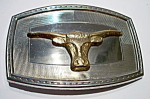Click to view larger image of Long Horn Steer vintage belt buckle (Image1)