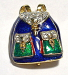 Retro back pack purse rhinestone brooch or pin
